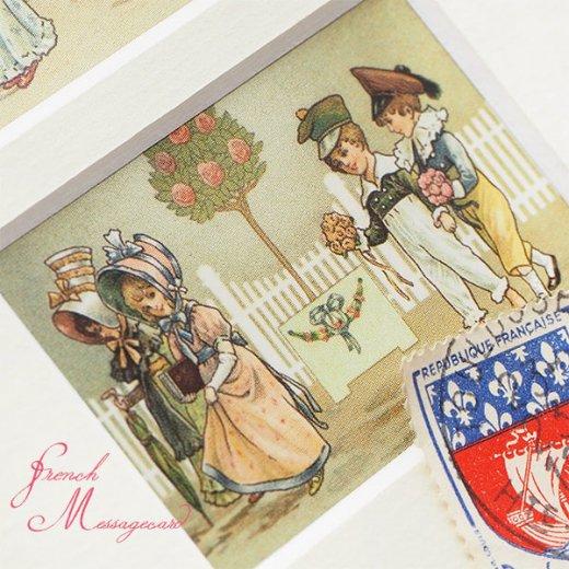 フランス ポストカード マウントボード仕様  封筒セット(中世 バラの小路)【画像5】