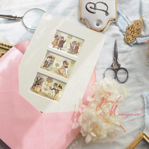 フランス ポストカード マウントボード仕様  封筒セット(中世 バラの小路)【画像7】