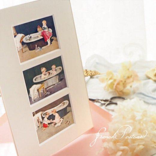 フランス ポストカード マウントボード仕様  封筒セット(お風呂の時間)【画像4】
