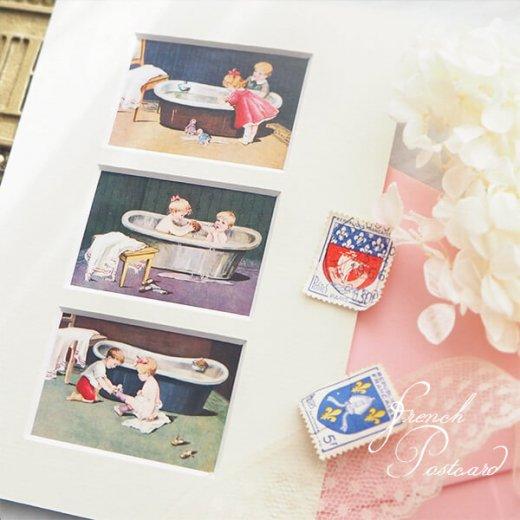 フランス ポストカード マウントボード仕様  封筒セット(お風呂の時間)【画像9】