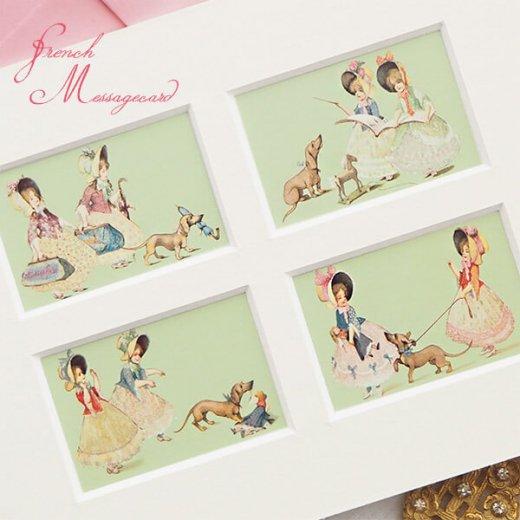 フランス ポストカード マウントボード仕様  封筒セット(犬と少女)【画像2】