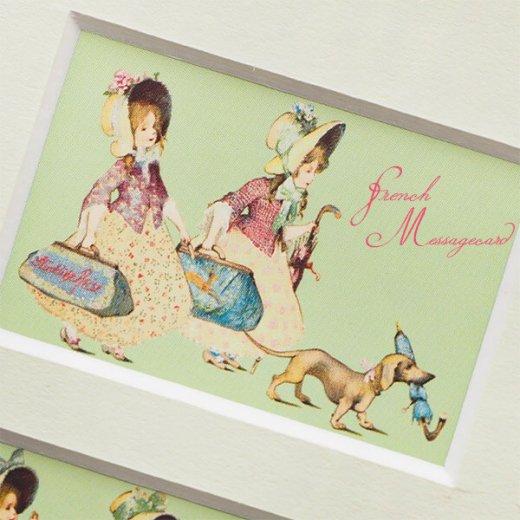 フランス ポストカード マウントボード仕様  封筒セット(犬と少女)【画像3】