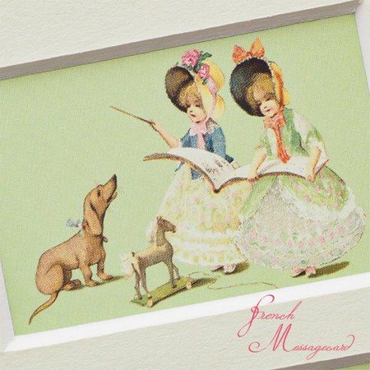 フランス ポストカード マウントボード仕様  封筒セット(犬と少女)【画像4】