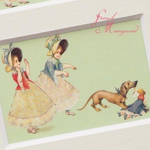フランス ポストカード マウントボード仕様  封筒セット(犬と少女)【画像5】