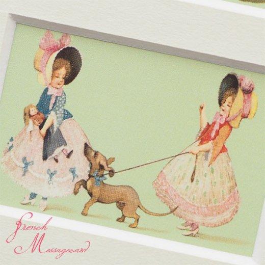フランス ポストカード マウントボード仕様  封筒セット(犬と少女)【画像6】