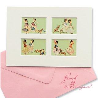 フランス ポストカード マウントボード仕様  封筒セット(犬と少女)