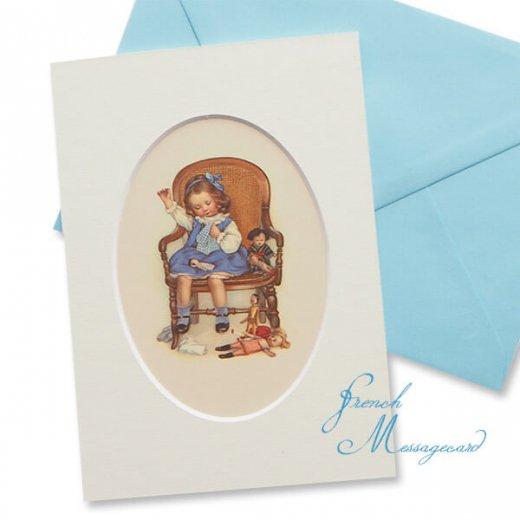 フランス ポストカード マウントボード仕様  封筒セット(お裁縫 お人形の服 ブルー リボン レース フリル)
