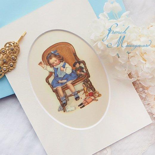 フランス ポストカード マウントボード仕様  封筒セット(お裁縫 お人形の服 ブルー リボン レース フリル)【画像2】