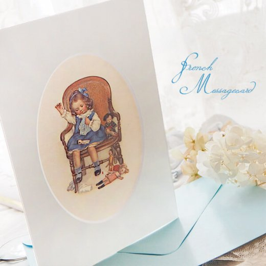 フランス ポストカード マウントボード仕様  封筒セット(お裁縫 お人形の服 ブルー リボン レース フリル)【画像3】