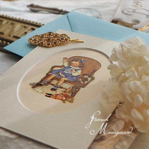フランス ポストカード マウントボード仕様  封筒セット(お裁縫 お人形の服 ブルー リボン レース フリル)【画像4】