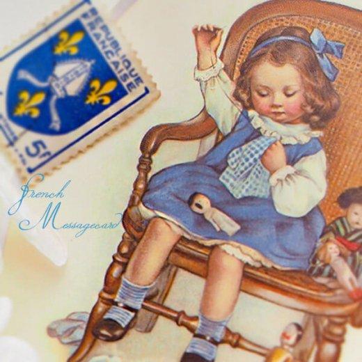 フランス ポストカード マウントボード仕様  封筒セット(お裁縫 お人形の服 ブルー リボン レース フリル)【画像6】