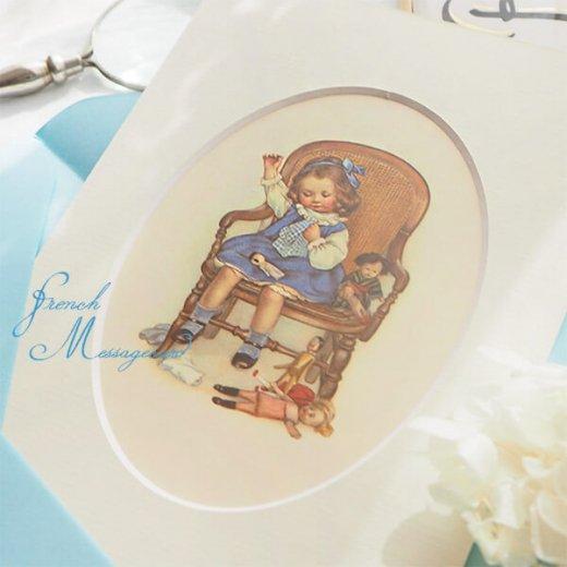 フランス ポストカード マウントボード仕様  封筒セット(お裁縫 お人形の服 ブルー リボン レース フリル)【画像7】