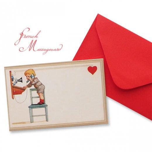 フランス ミニメッセージカード  封筒セット(電話 受話器を取る幼子)
