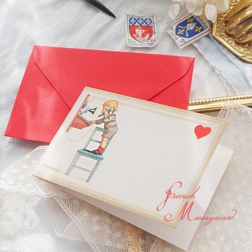 フランス ミニメッセージカード  封筒セット(電話 受話器を取る幼子)【画像2】