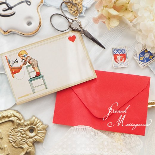 フランス ミニメッセージカード  封筒セット(電話 受話器を取る幼子)【画像4】