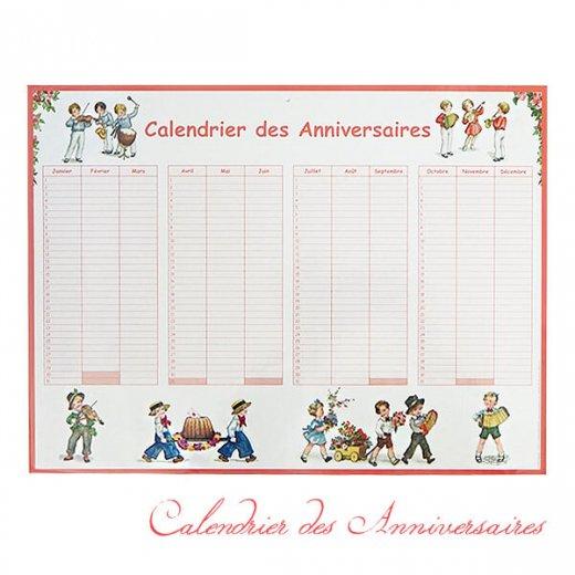 フランス製 壁掛けボード アニバーサリーカレンダー(Calendrier des Anniversaires ローズ 記念日 サックス バイオリン クグロフ)