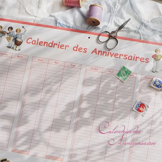 フランス製 壁掛けボード アニバーサリーカレンダー(Calendrier des Anniversaires ローズ 記念日 サックス バイオリン クグロフ)【画像3】