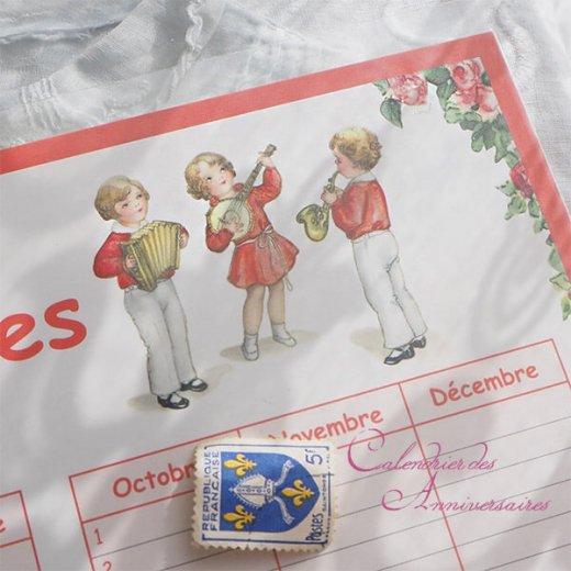 フランス製 壁掛けボード アニバーサリーカレンダー(Calendrier des Anniversaires ローズ 記念日 サックス バイオリン クグロフ)【画像4】
