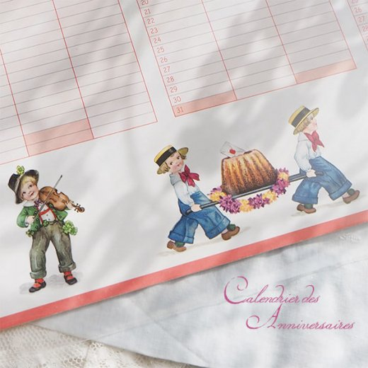フランス製 壁掛けボード アニバーサリーカレンダー(Calendrier des Anniversaires ローズ 記念日 サックス バイオリン クグロフ)【画像5】