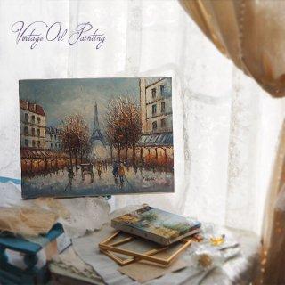 【送料無料】フランス パリ蚤の市より 油絵 F6 ペインティングナイフ画 エッフェル塔 パリ風景(約 縦32cm×横41cm)
