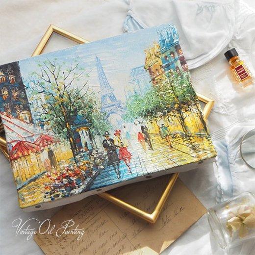 フランス パリ蚤の市より 油絵 F0 ペインティングナイフ画 エッフェル塔 パリ風景(約 縦14cm×横18cm)