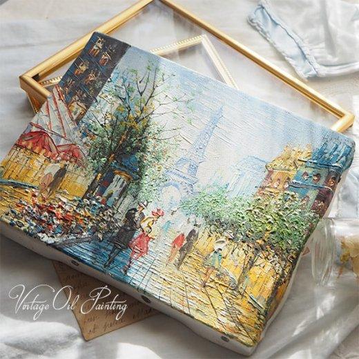 フランス パリ蚤の市より 油絵 F0 ペインティングナイフ画 エッフェル塔 パリ風景(約 縦14cm×横18cm)【画像2】