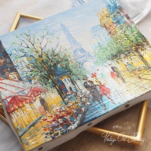 フランス パリ蚤の市より 油絵 F0 ペインティングナイフ画 エッフェル塔 パリ風景(約 縦14cm×横18cm)【画像11】