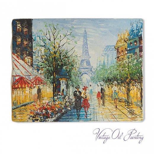 フランス パリ蚤の市より 油絵 F0 ペインティングナイフ画 エッフェル塔 パリ風景(約 縦14cm×横18cm)【画像3】