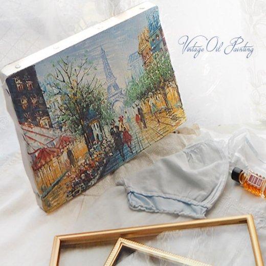 フランス パリ蚤の市より 油絵 F0 ペインティングナイフ画 エッフェル塔 パリ風景(約 縦14cm×横18cm)【画像5】