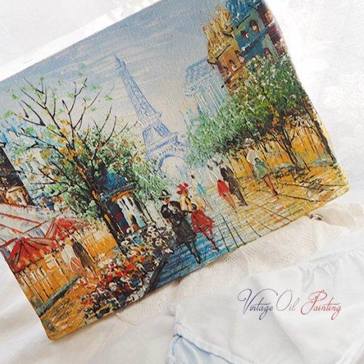 フランス パリ蚤の市より 油絵 F0 ペインティングナイフ画 エッフェル塔 パリ風景(約 縦14cm×横18cm)【画像6】