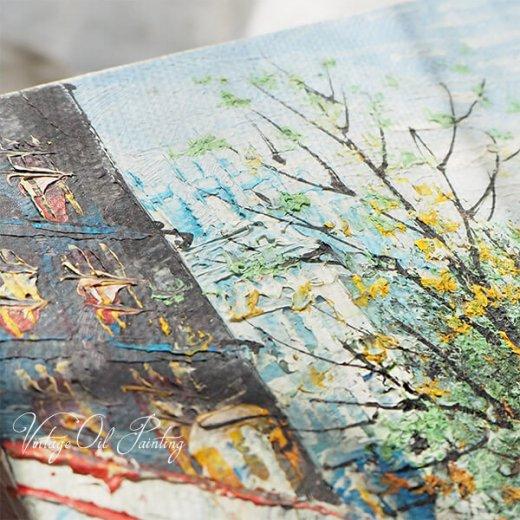 フランス パリ蚤の市より 油絵 F0 ペインティングナイフ画 エッフェル塔 パリ風景(約 縦14cm×横18cm)【画像9】