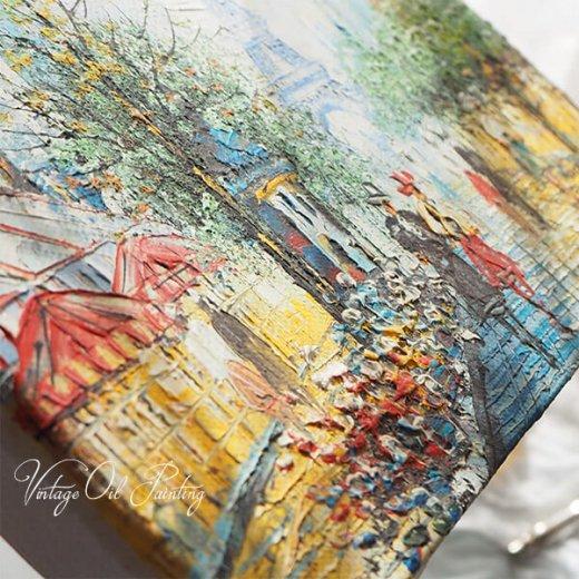 フランス パリ蚤の市より 油絵 F0 ペインティングナイフ画 エッフェル塔 パリ風景(約 縦14cm×横18cm)【画像10】