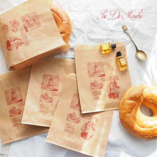 マルシェ袋 フランス 海外市場の紙袋 (Roue a eau Sサイズ)5枚セット【画像2】