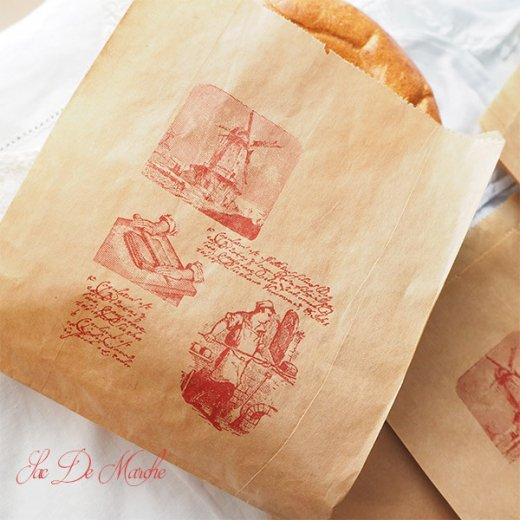 マルシェ袋 フランス 海外市場の紙袋 (Roue a eau Sサイズ)5枚セット【画像3】
