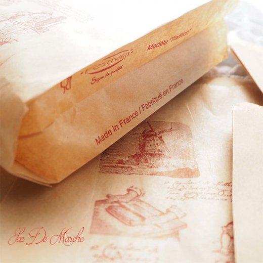 マルシェ袋 フランス 海外市場の紙袋 (Roue a eau Sサイズ)5枚セット【画像4】