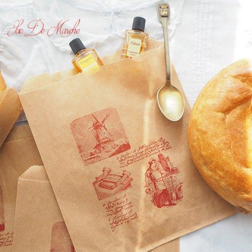 マルシェ袋 フランス 海外市場の紙袋 (Roue a eau Sサイズ)5枚セット【画像5】