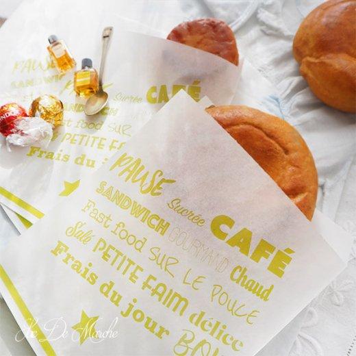 マルシェ袋 フランス 海外市場の紙袋(Pause sucrée CAFÉ M グリーン)5枚セット【画像3】