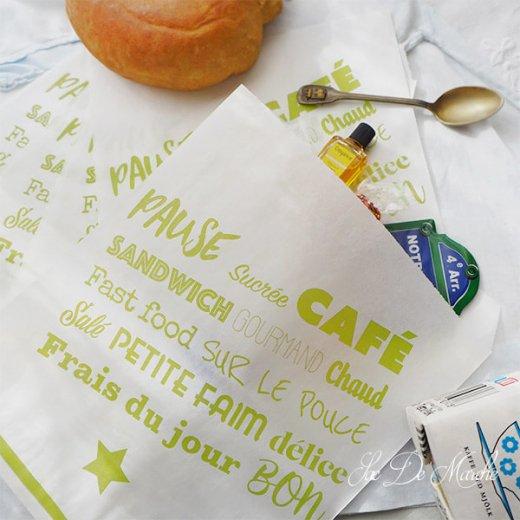 マルシェ袋 フランス 海外市場の紙袋(Pause sucrée CAFÉ M グリーン)5枚セット【画像8】