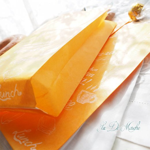 マルシェ袋 ドイツ 海外市場の紙袋(アペティ! オレンジ)5枚セット【画像7】