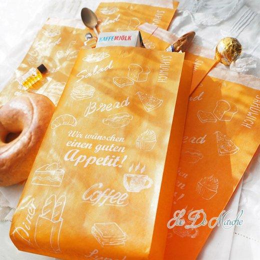 マルシェ袋 ドイツ 海外市場の紙袋(アペティ! オレンジ)5枚セット【画像8】