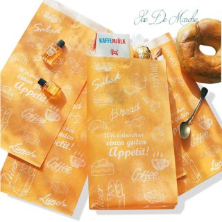マルシェ袋 ドイツ 海外市場の紙袋(アペティ! オレンジ)5枚セット