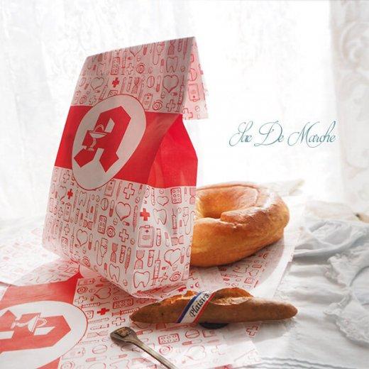 マルシェ袋 ドイツ 海外市場の紙袋(薬局 Bタイプ) 5枚セット 【画像7】