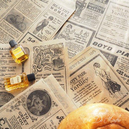 マルシェ袋 ドイツ 海外市場の紙袋(クラシック 新聞柄)5枚セット【画像2】