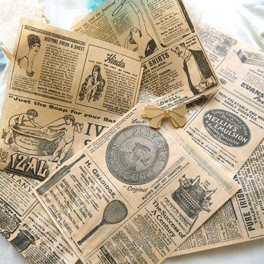 マルシェ袋 ドイツ 海外市場の紙袋(クラシック 新聞柄)5枚セット【画像11】