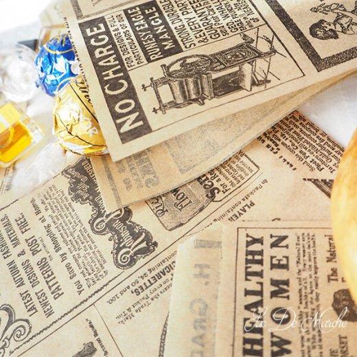 マルシェ袋 ドイツ 海外市場の紙袋(クラシック 新聞柄)5枚セット【画像3】