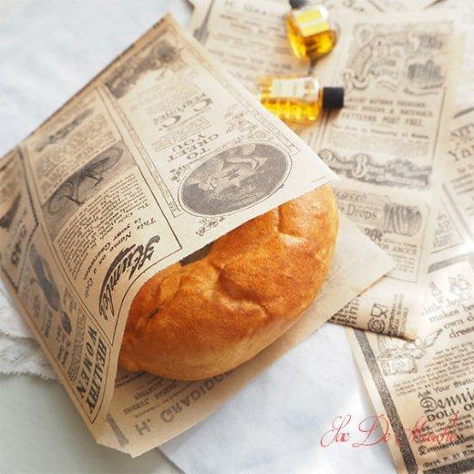 マルシェ袋 ドイツ 海外市場の紙袋(クラシック 新聞柄)5枚セット【画像5】