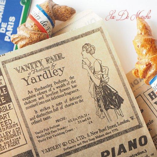 マルシェ袋 ドイツ 海外市場の紙袋(クラシック 新聞柄)5枚セット【画像8】