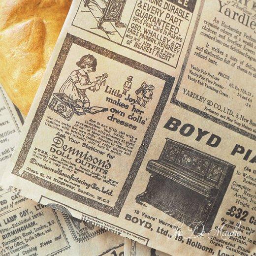 マルシェ袋 ドイツ 海外市場の紙袋(クラシック 新聞柄)5枚セット【画像9】