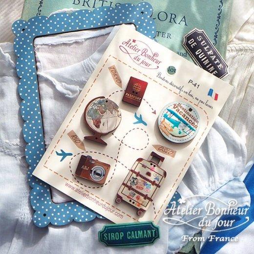 【お得なボタンセット】フランス輸入ボタン アトリエ・ボヌール・ドゥ・ジュール(旅行 パスポート カメラ 地球儀 カート)【画像7】