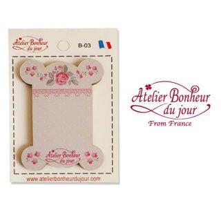 【糸巻き】フランス輸入ボタン アトリエ・ボヌール・ドゥ・ジュール【ピンク 糸巻き バラ】